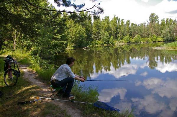 на реке можно ловить с берега