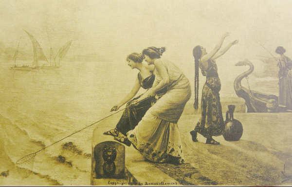 Древнегреческая рыбалка фотооткрытка начала 20 века