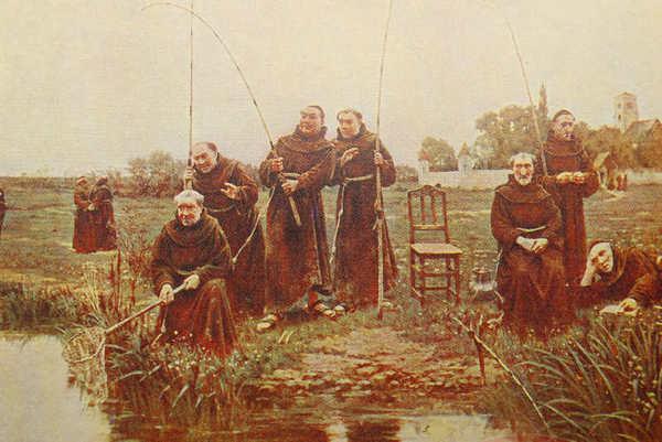 Монахи за рыбной ловлей
