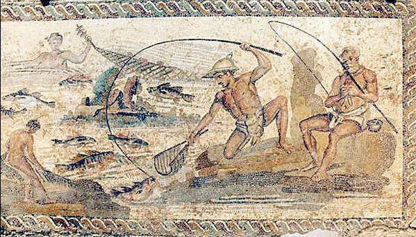 Рыболовная сцена Майолика на плитке